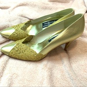 Stuart Weitzman vintage gold lace heels
